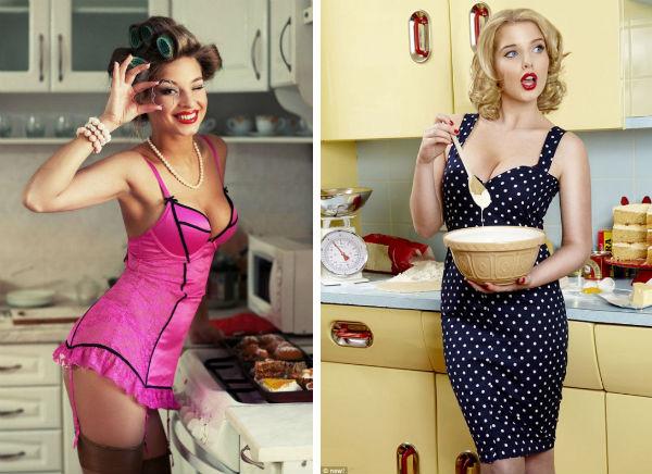 Образ игривой домохозяйки на кухне в стиле пин-ап фото