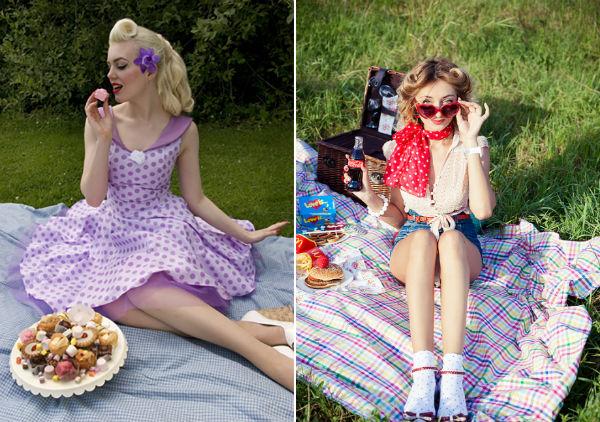 Проведение пикника с подругой в стиле пин-ап на природе фото
